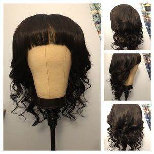 Human hair lace front bang wig